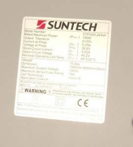Suntech panel specifications