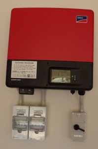 Sunny Boy Inverter - DC Breakers Bottom Left, System Isolation Bottom Right